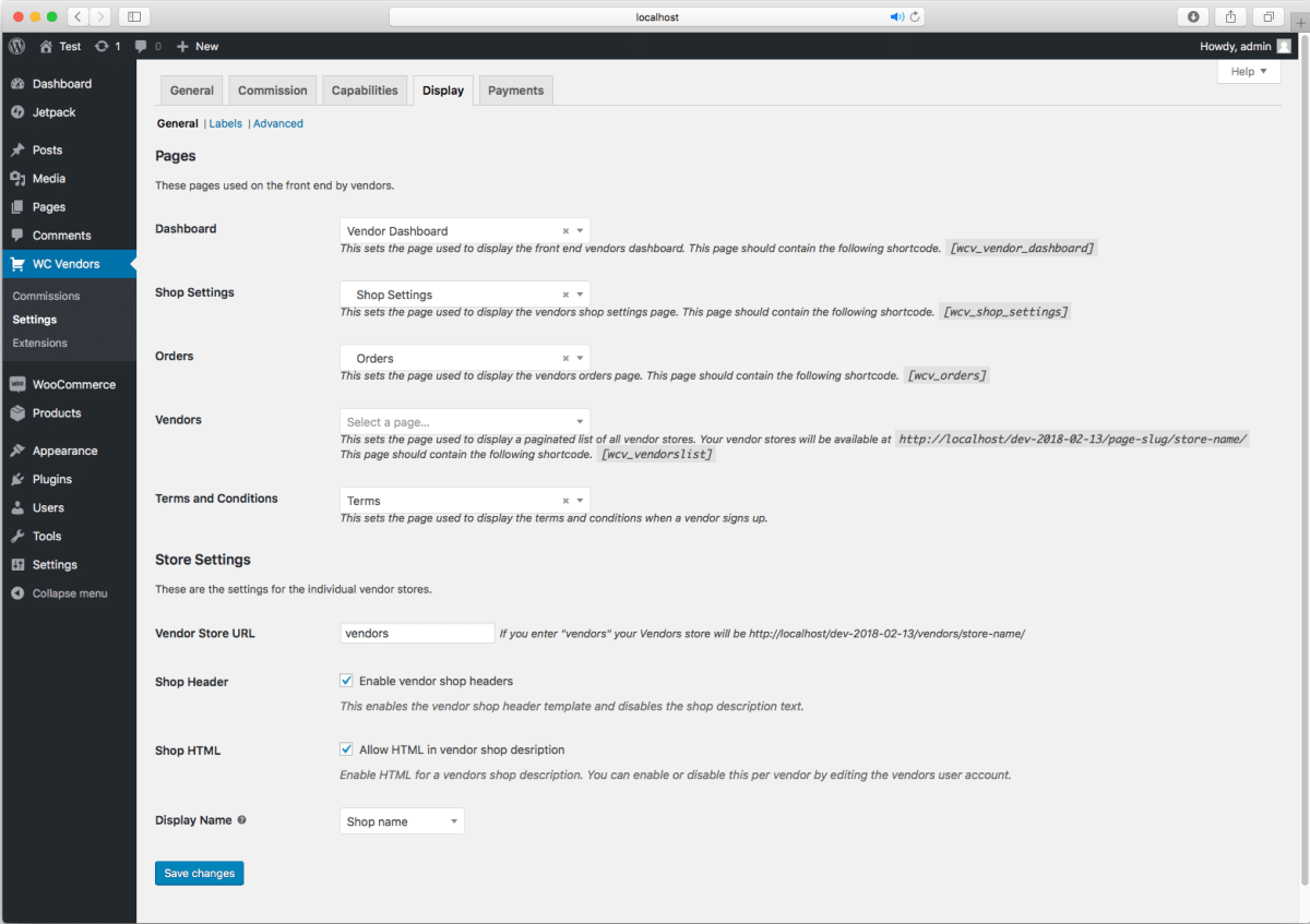 WC Vendors WooCommerce multi-vendor plugin admin settings panel.