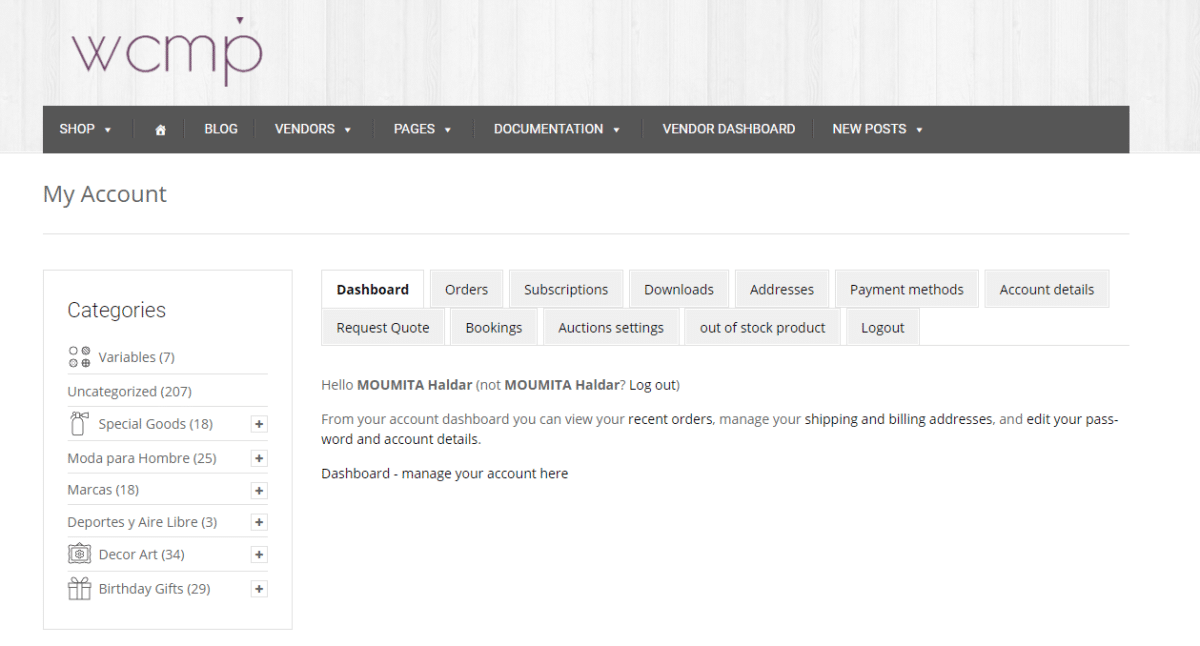 WC Marketplace admin frontend dashboard.