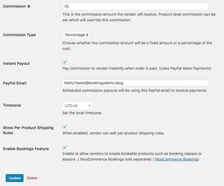 Product Vendors WooCommerce multi-vendor plugin settings panel.